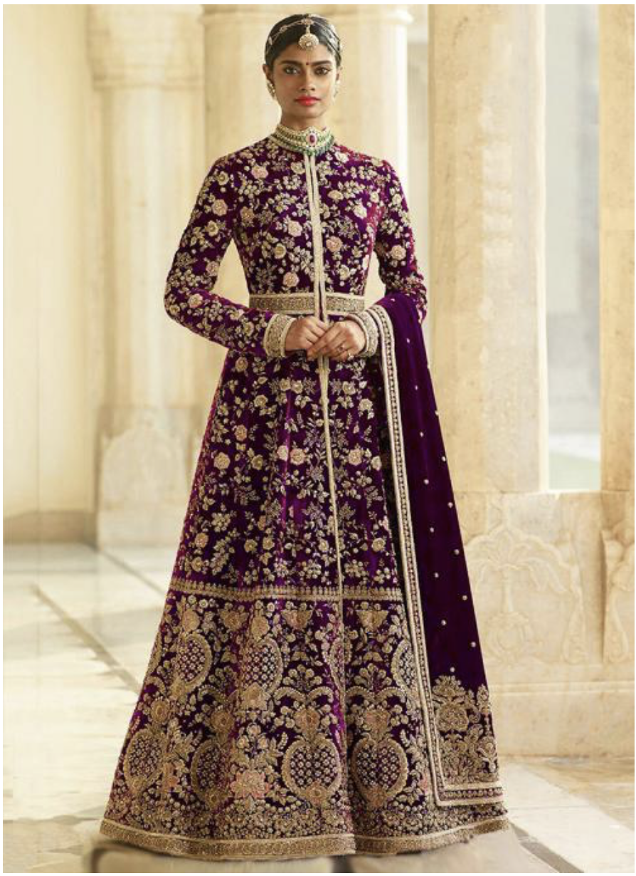 Maroon Velvet Embroidery Work Anarkali