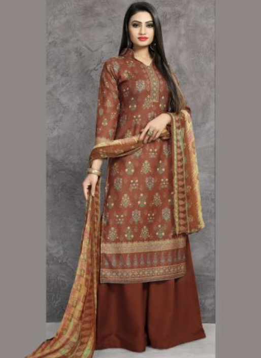 Brown Pashmina Sharara Suit