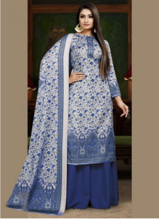 Blue Pashmina Sharara Suit