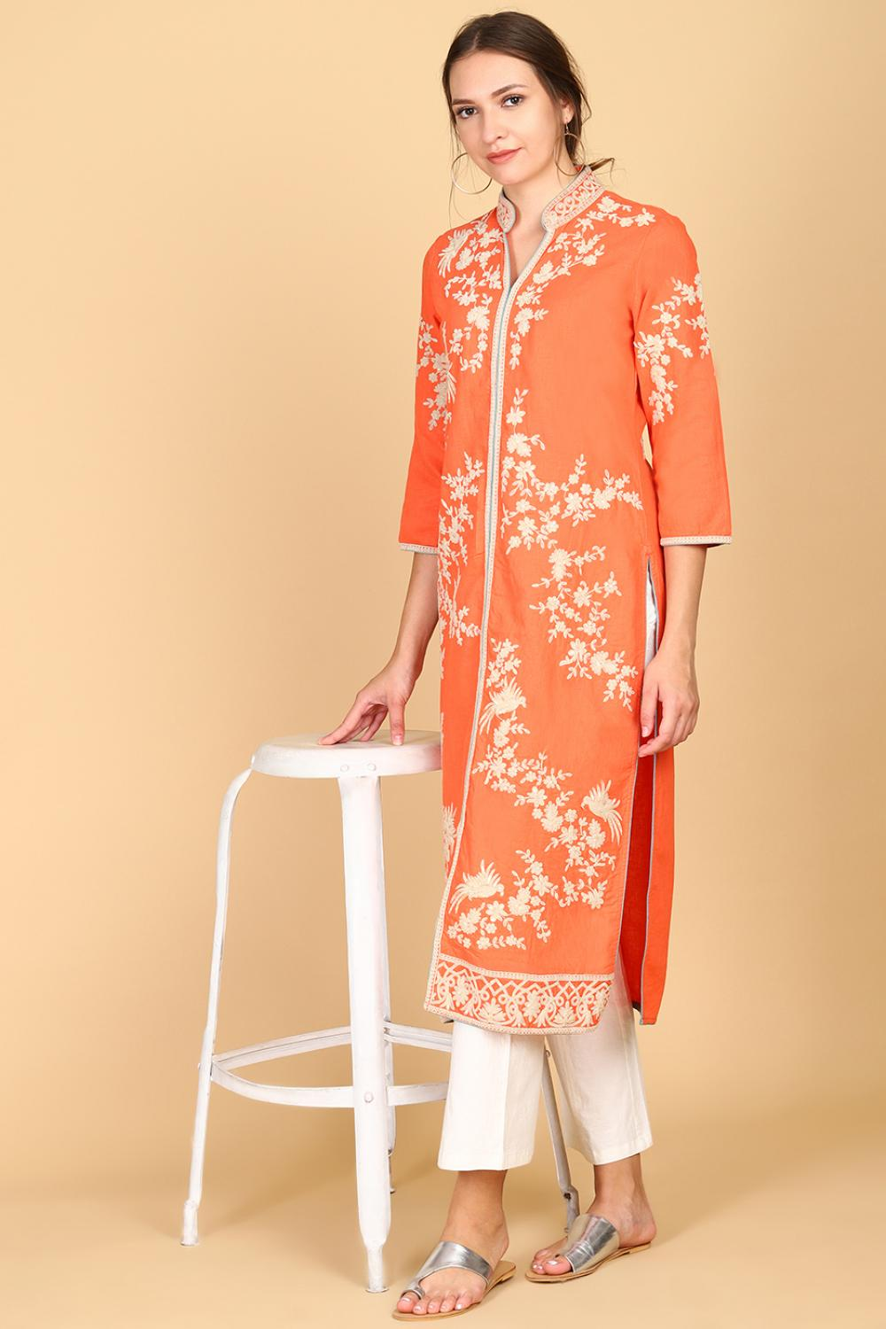 Orange Long Embroidery Kurta