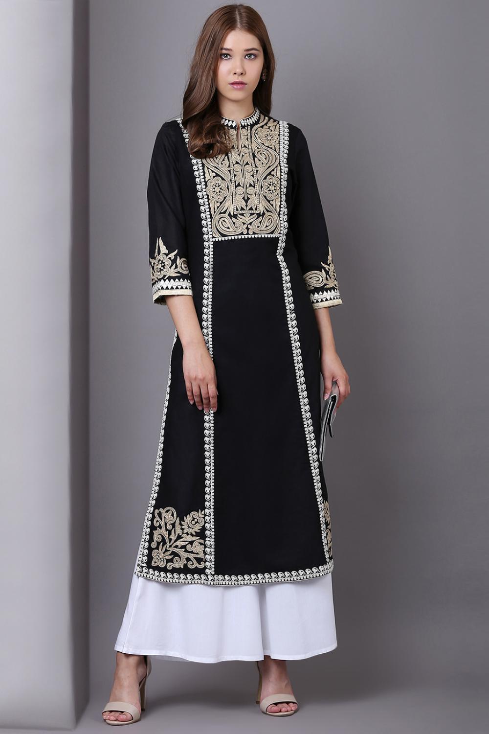 Black Long Embroidery Kurta