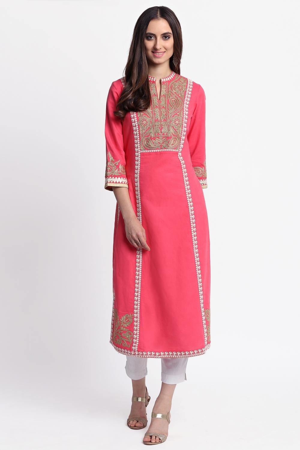 Peach Long Embroidery Kurta