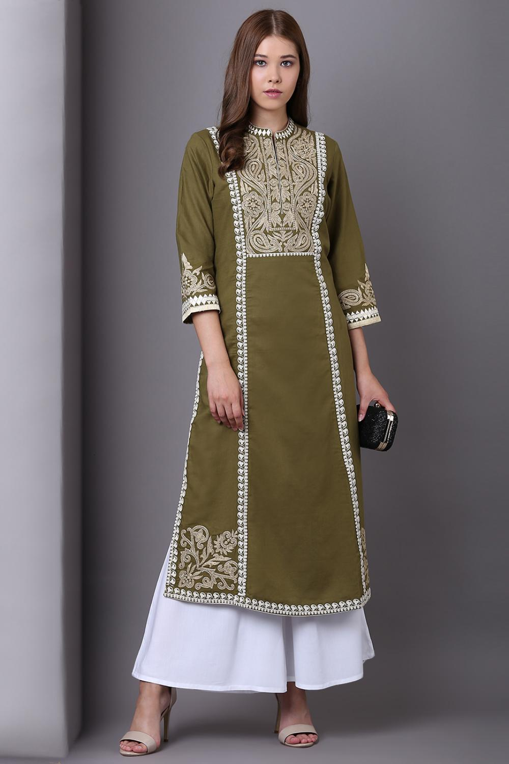 Mehndi Green Long Embroidery Kurta