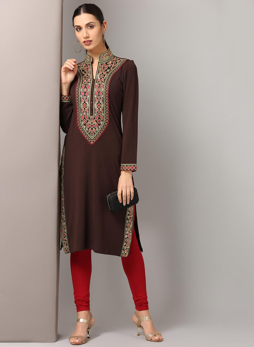 Brown Embroidery Kurti