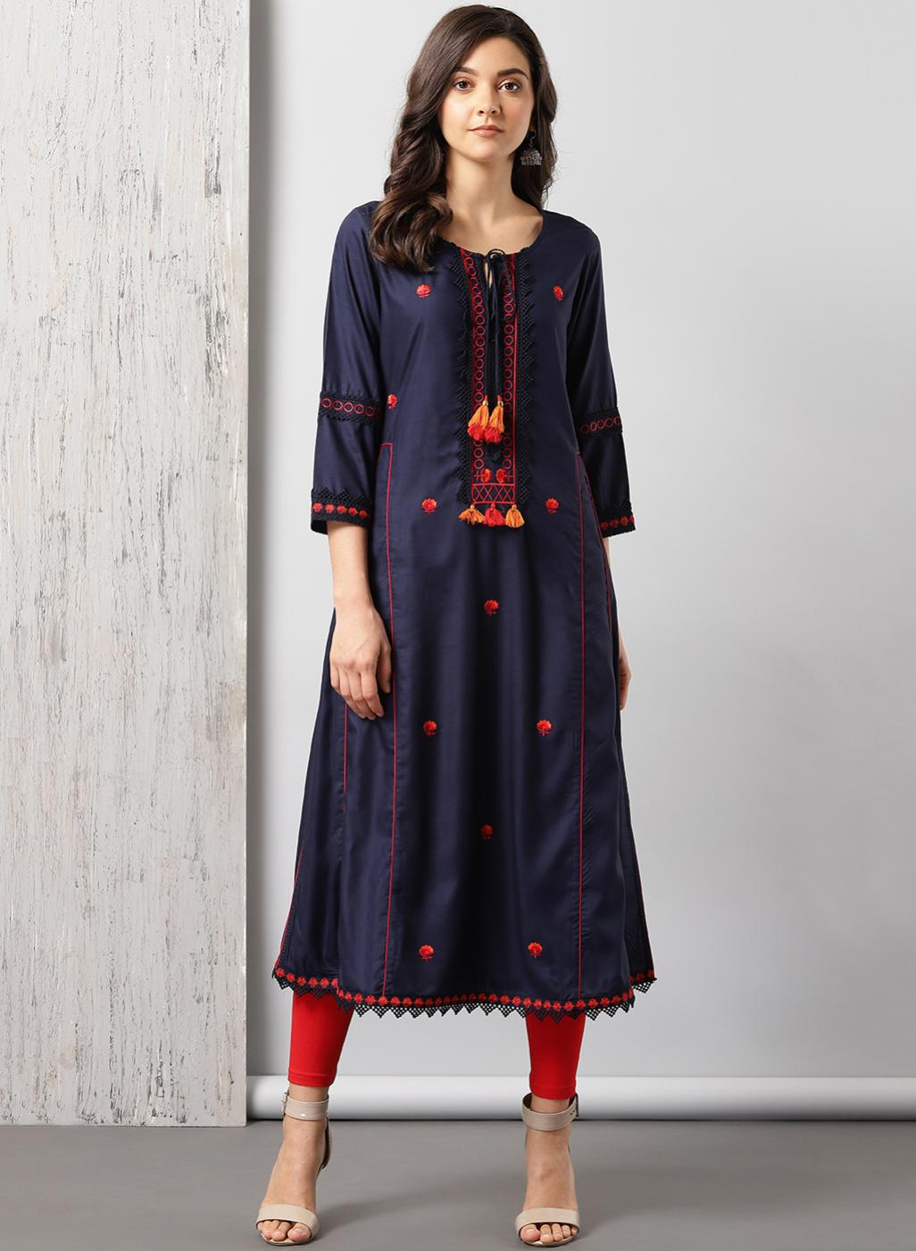 Navy Blue Long Embroidery Kurti