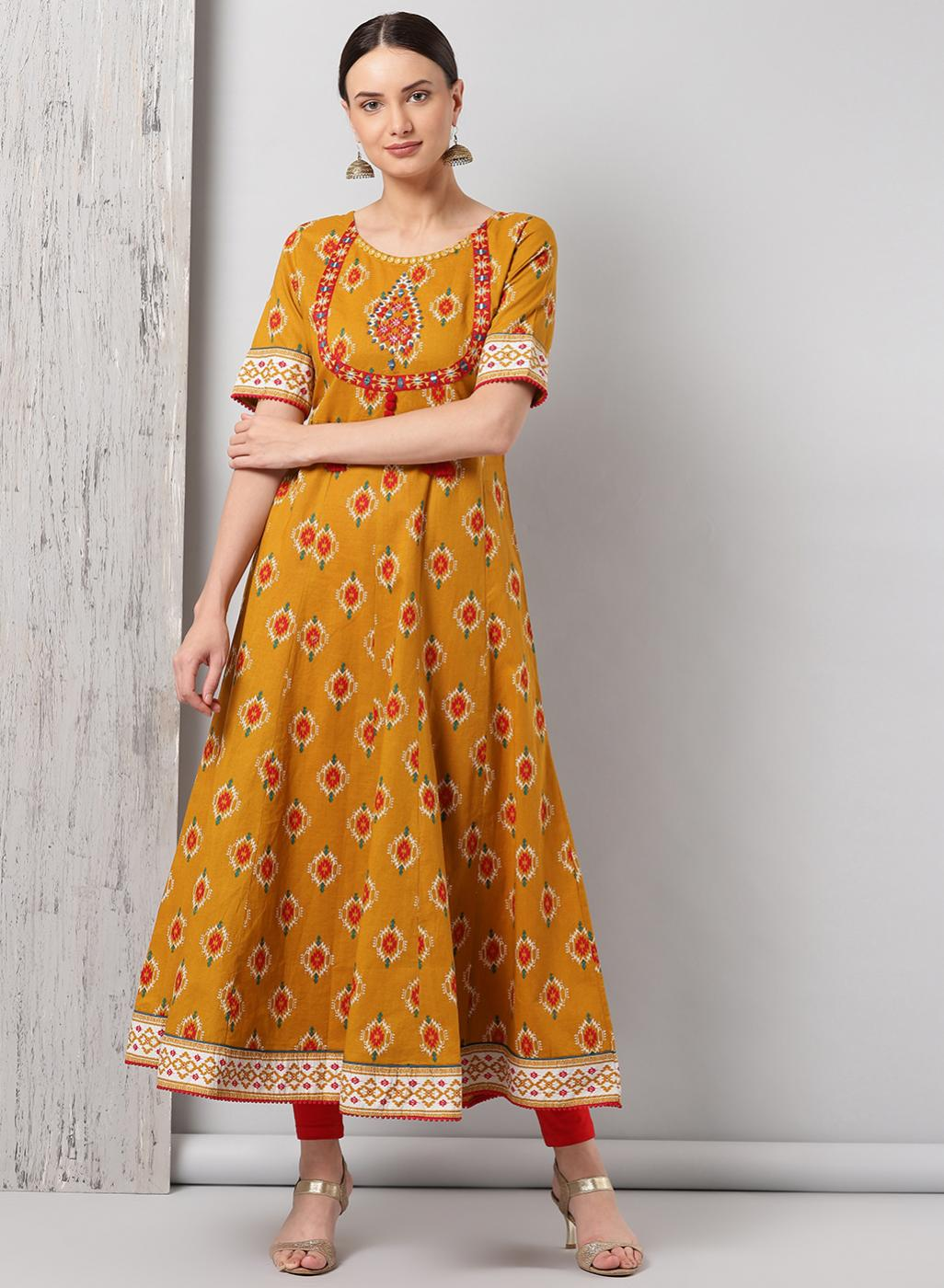Yellow Long Embroidery Kurta
