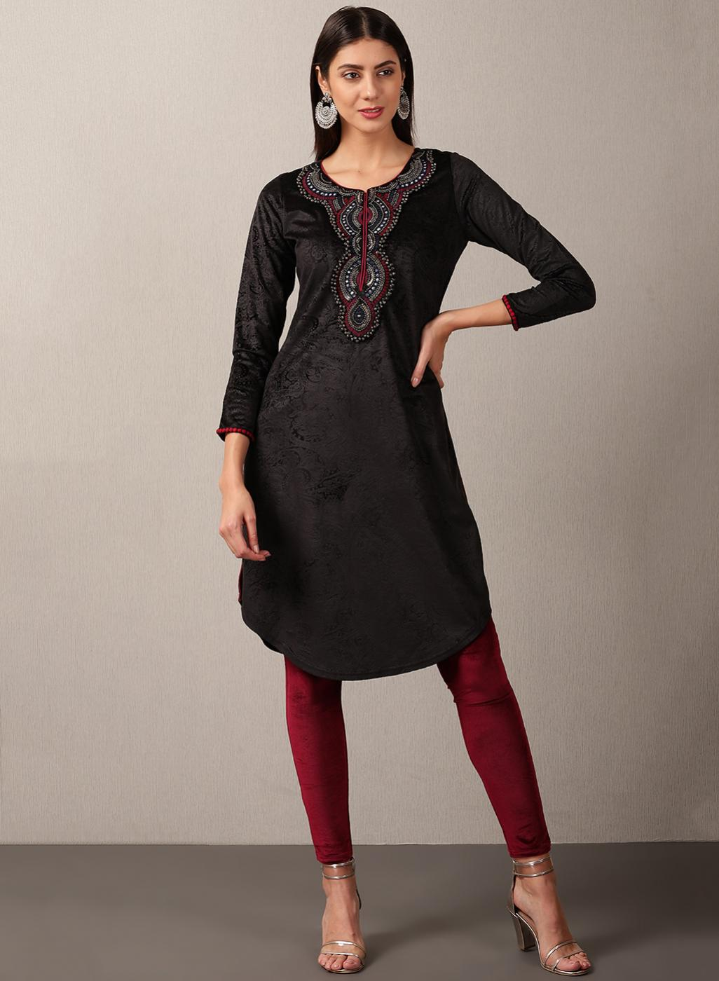 Black Regular Embroidery Velvet Kurta