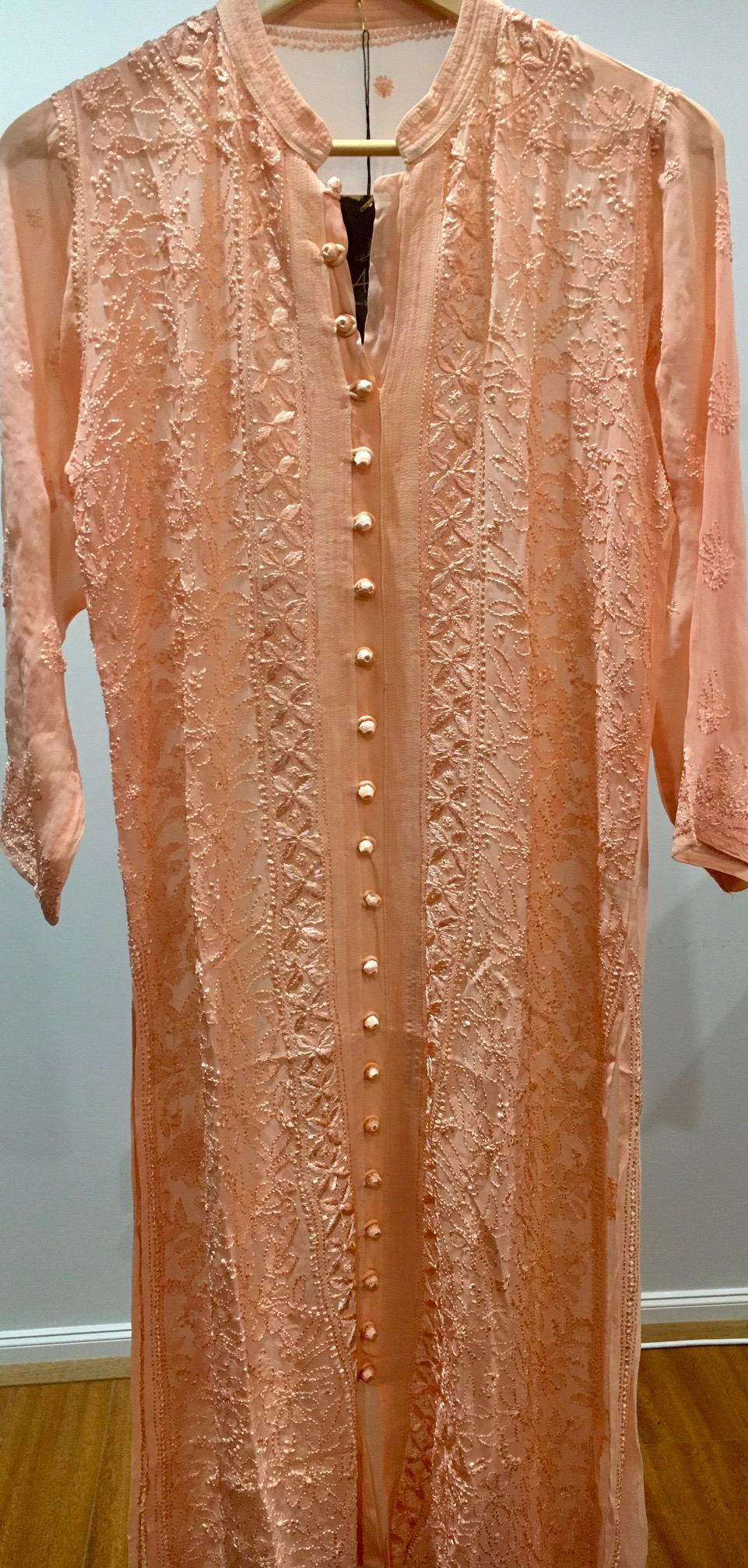 Peach Pure Georgette Front Open Long Kurti