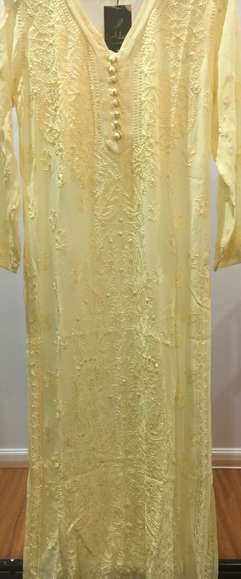 Lemon Pure Viscose Handwork Long Kurti