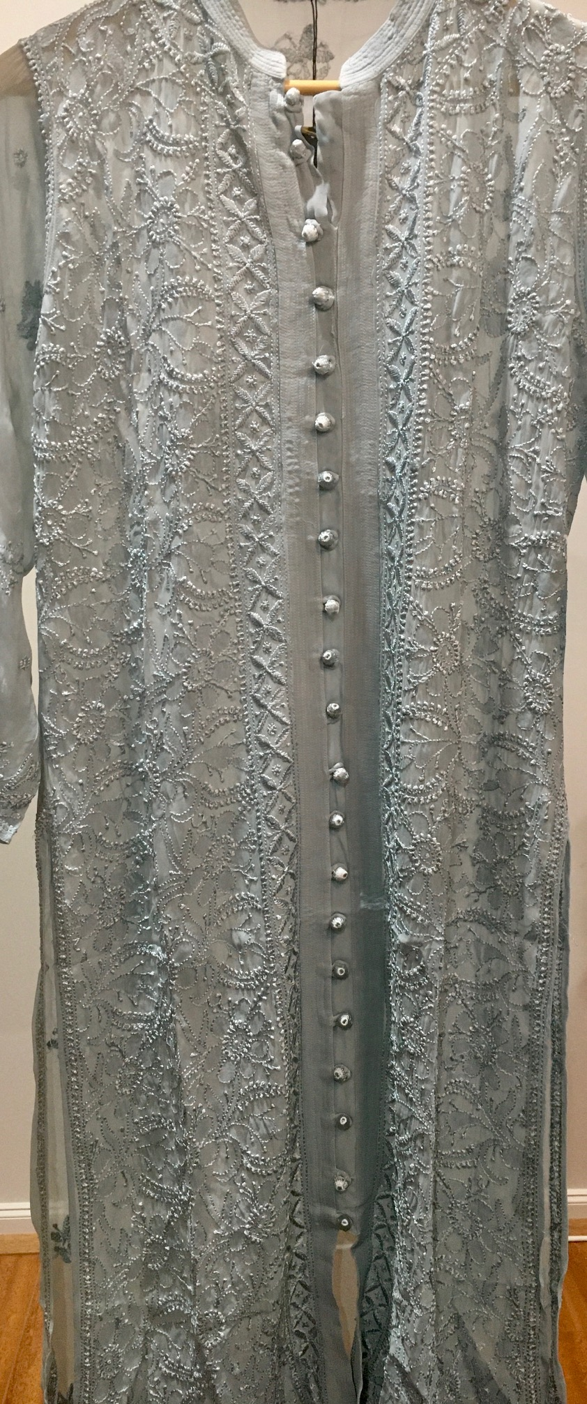 Grey Pure Georgette Front Open Long Kurti