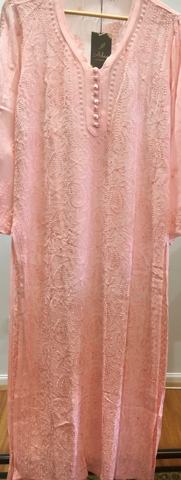 Peach Pure Viscose Handwork Long Kurti