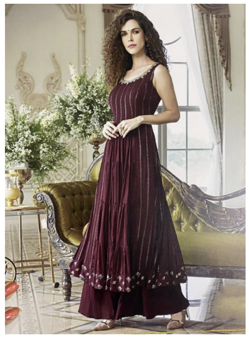 Maroon Pure Georgette Long Kurti with Palazzo
