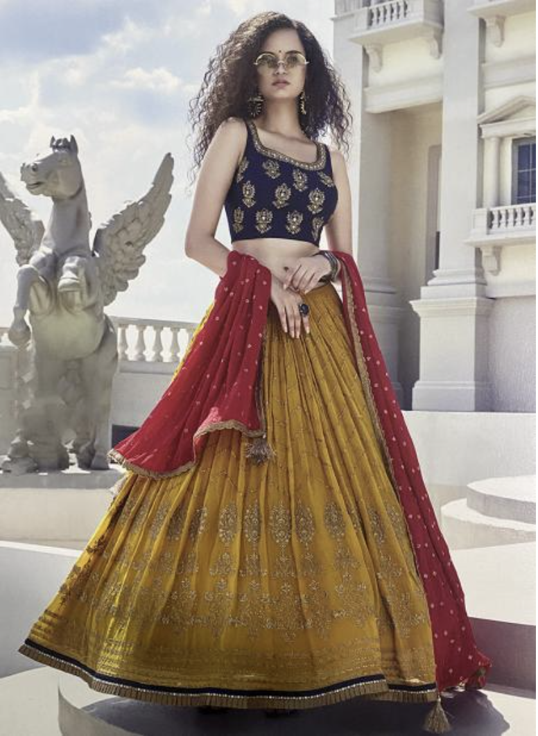Yellow Pure Georgette Handwork Readymade