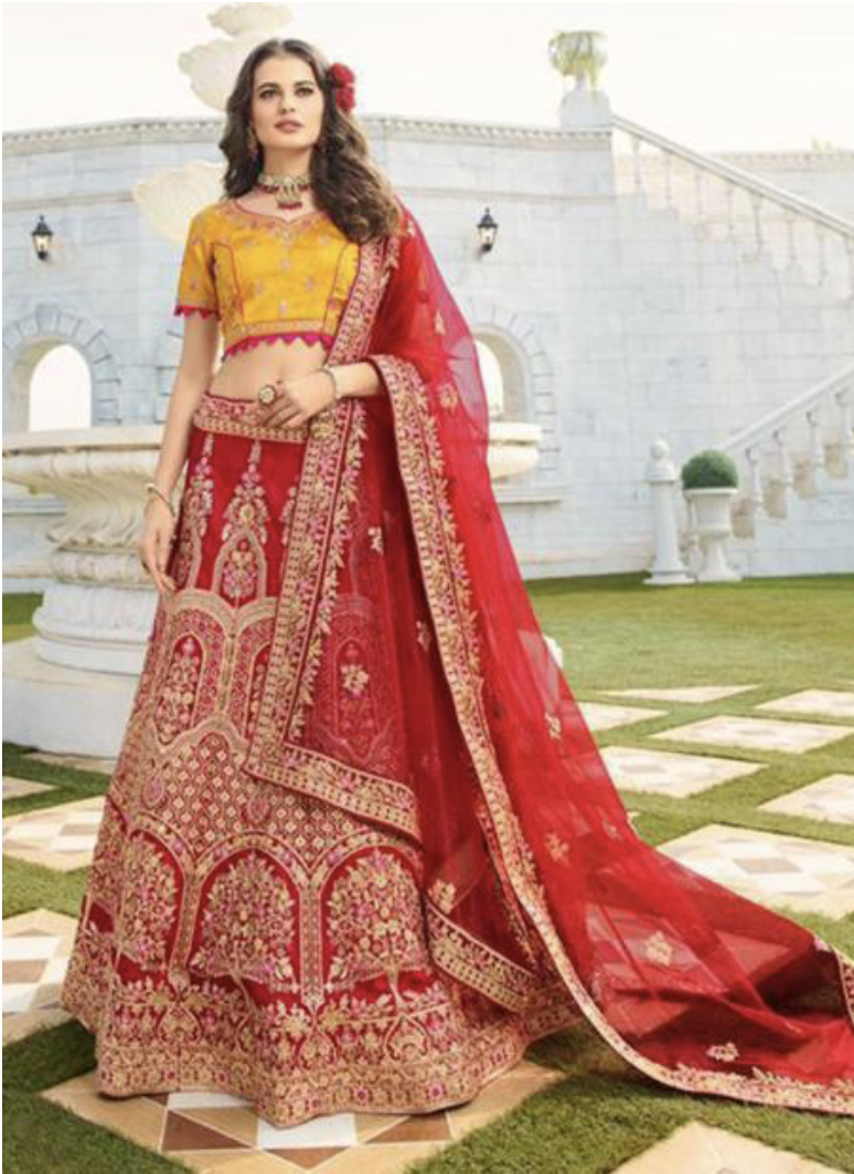Red Silk Embroidery Work