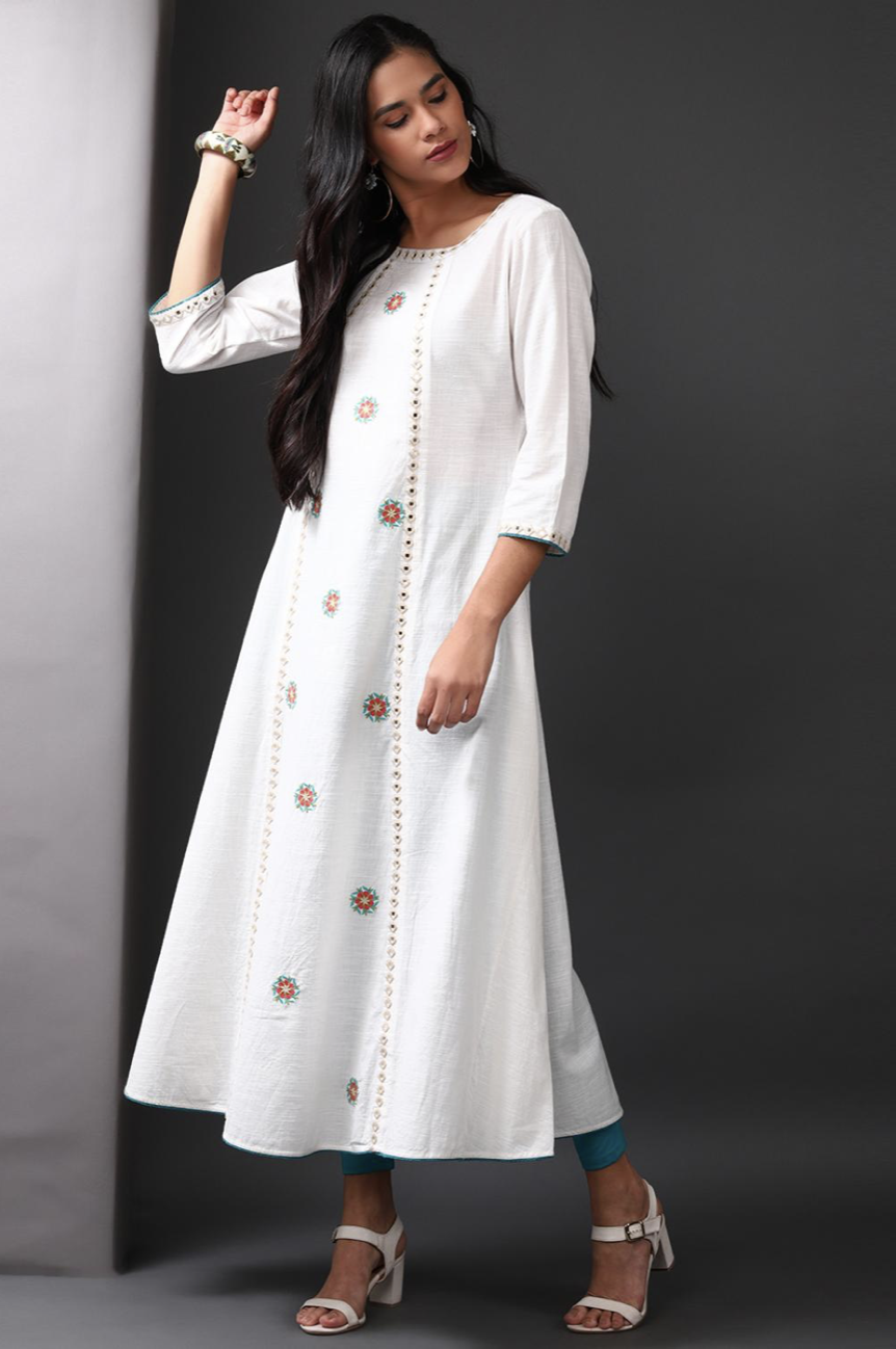 Off White Long Embroidery Kurti