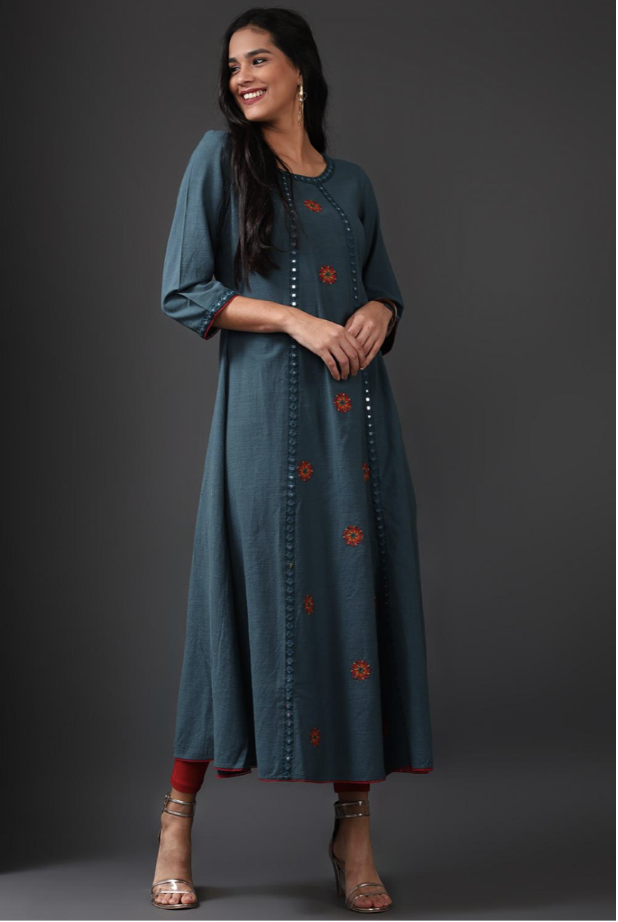 Turquoise Long Embroidery Kurti