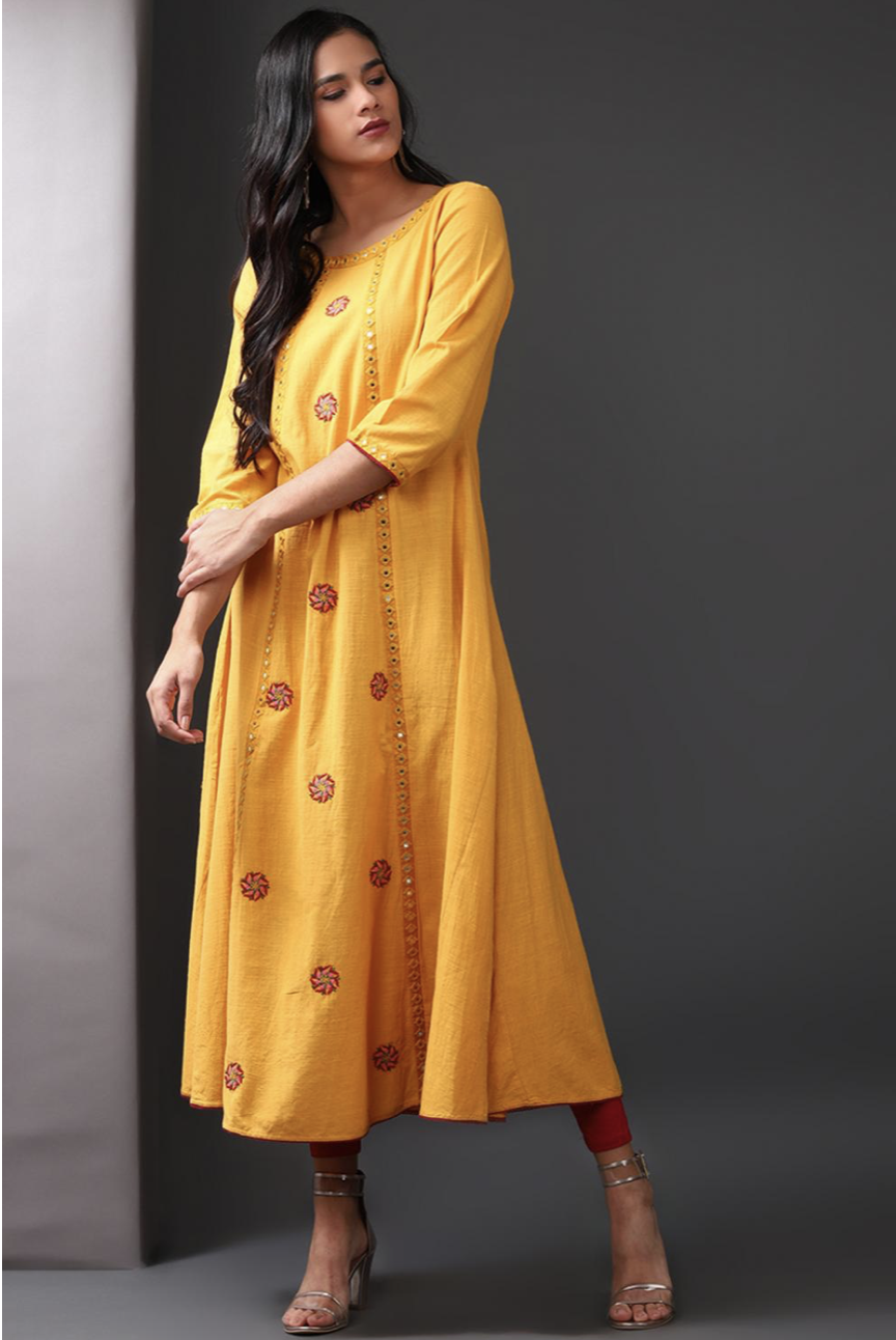 Yellow Long Embroidery Kurti