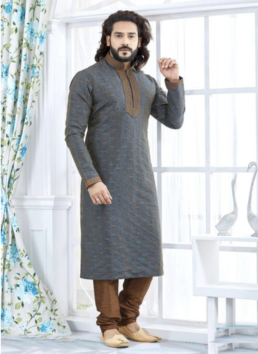 Grey Jacquard Festival And Occasion Wear Printed K