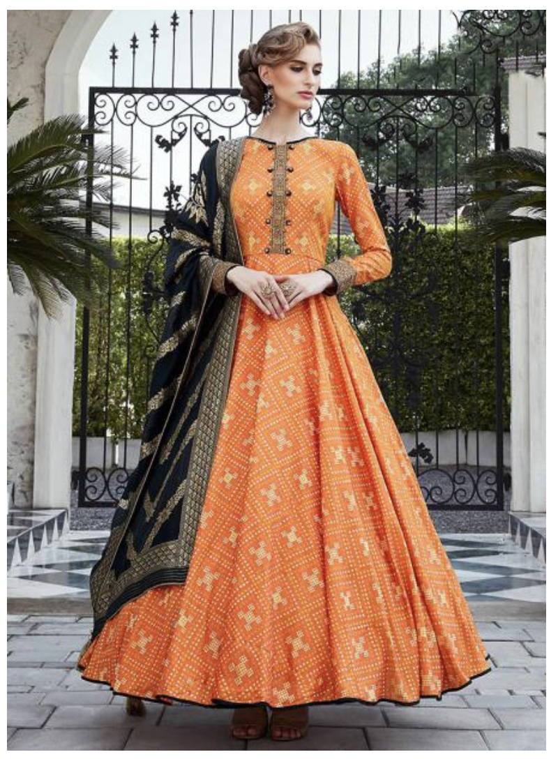 Silk Gown with Handwork and Black Dupatta